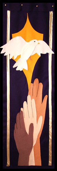 Sanctuary banner 2, representing the second great end: the shelter, nurture, and spiritual fellowship of the children of God