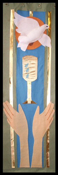Sanctuary Banner 3, representing the third great end: the maintenance of divine worship